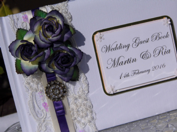 Personalised Wedding Guest Book - Purple Rose